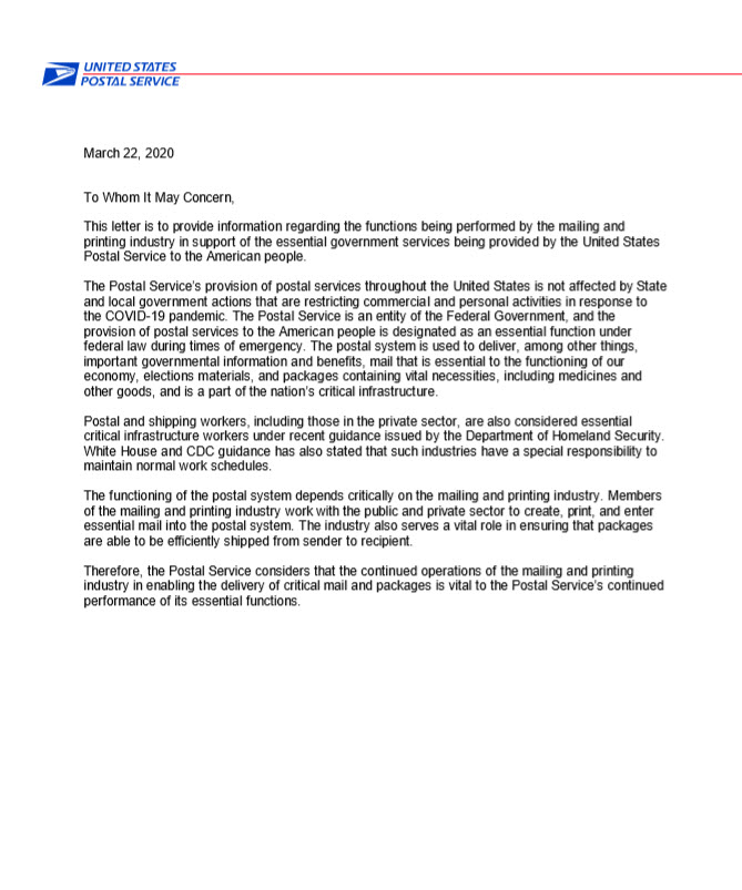 USPS Essential Industries Letter March 22, 2020